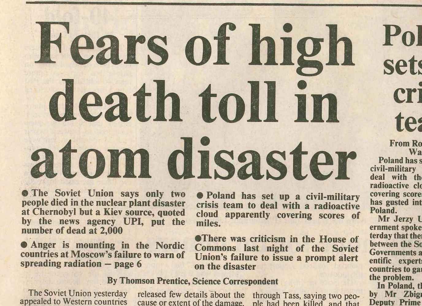 Chernobyl Disaster articles in The Times from 30 April 1986