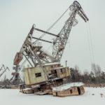 Climbing Pripyat Dock cranes in winter (video)