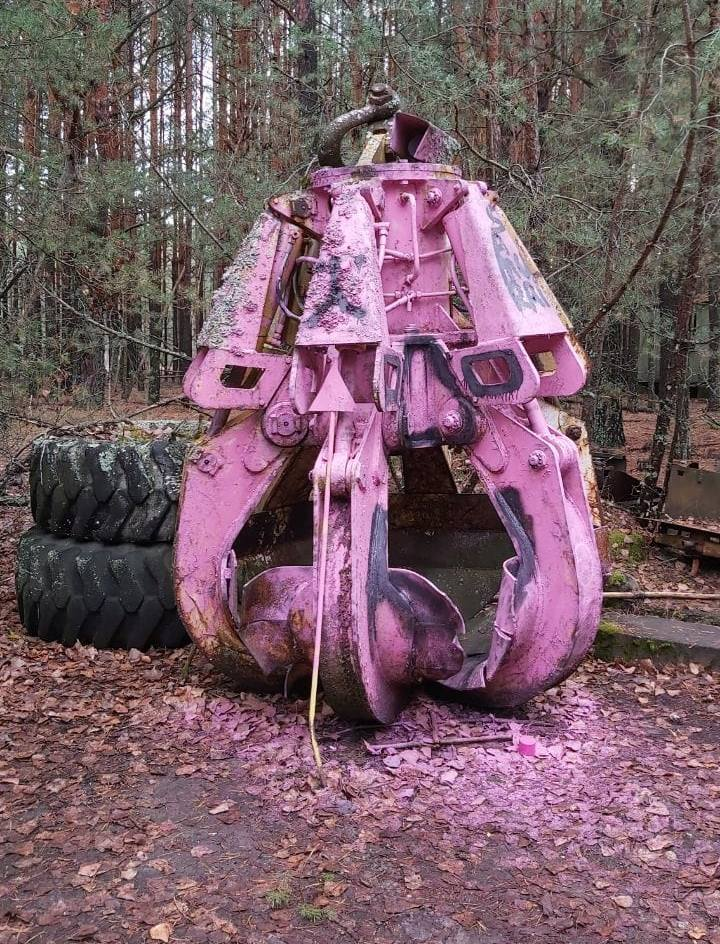 Radioactive Claw in Chernobyl painted pink by vandals