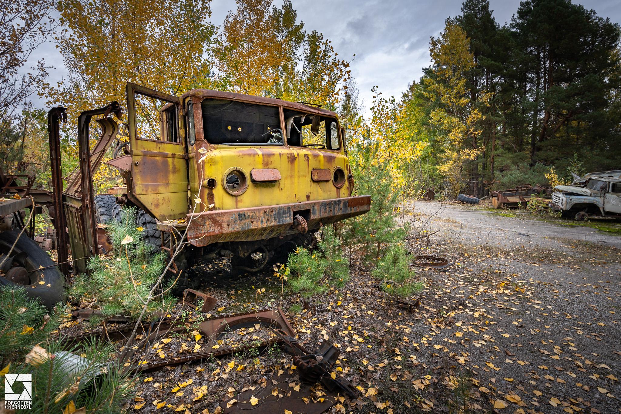 MAZ 537 military truck at the ATH 2 garage and repair facility near Pripyat