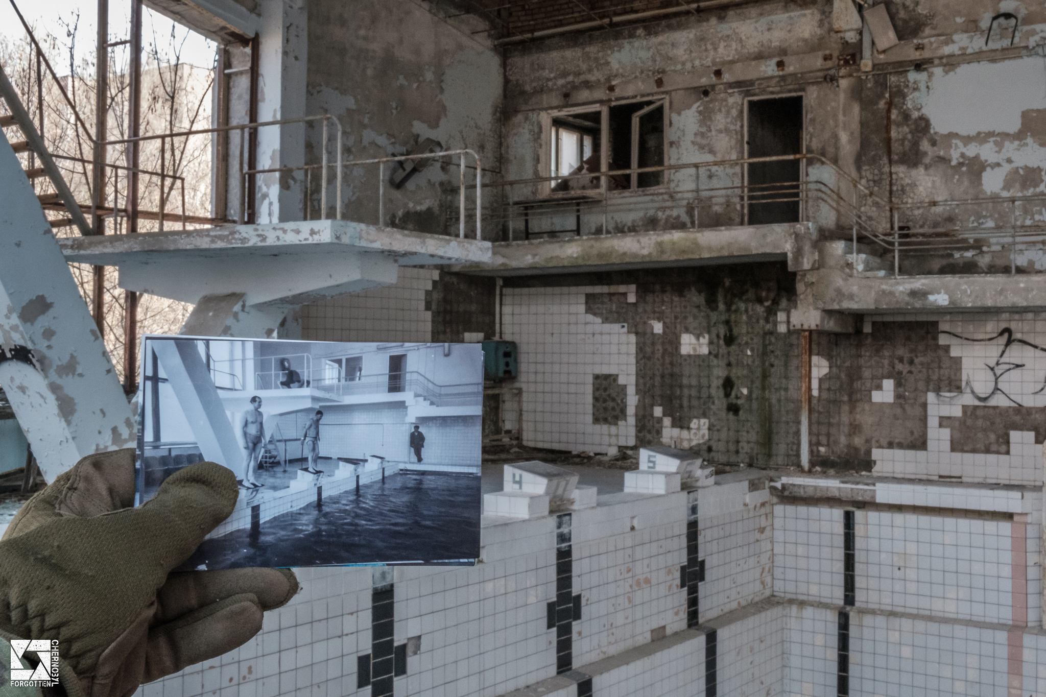 Pripyat Swimming Pool Before and After the Chernobyl Accident