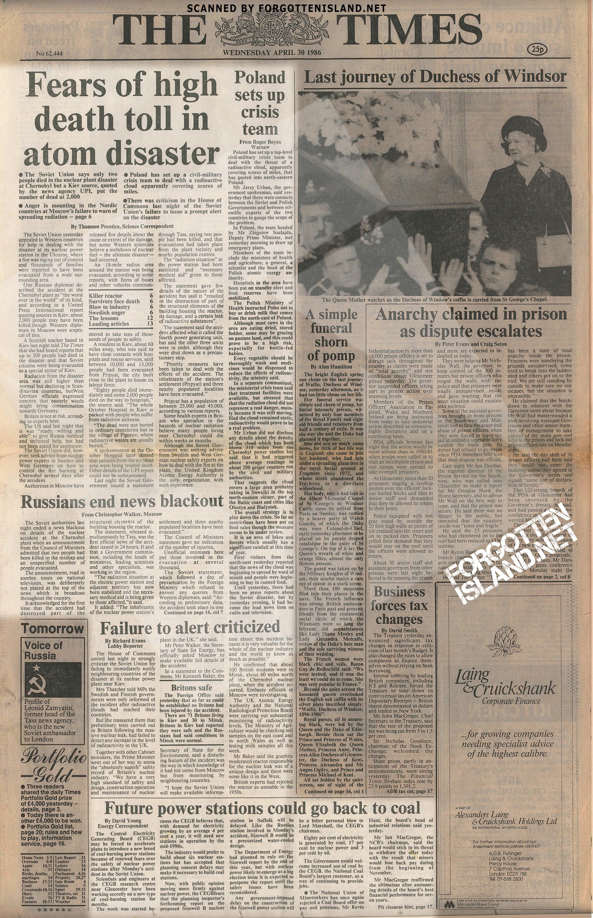 Chernobyl Newspaper - The Times 30 April 1986