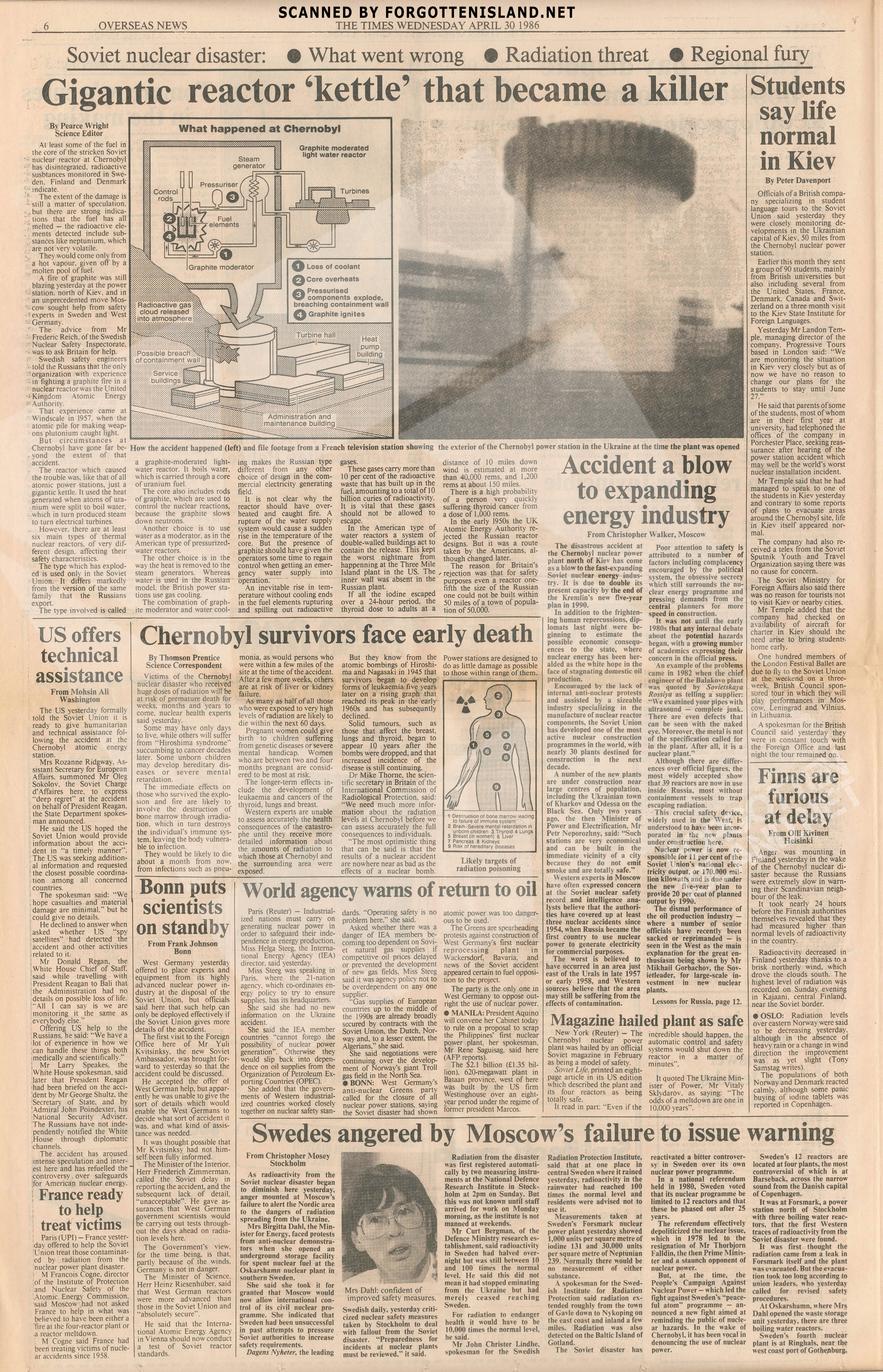 Chernobyl Newspaper – The Times 30 April 1986