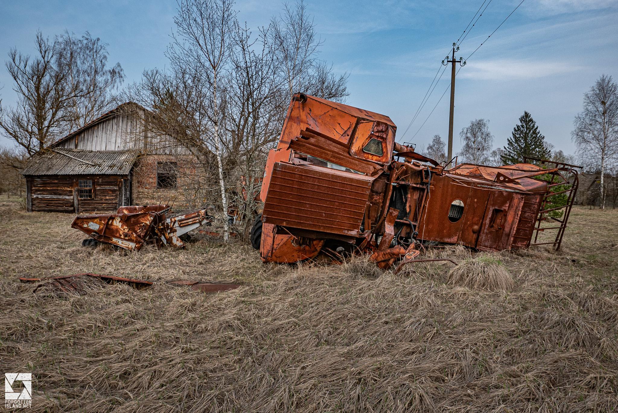 Abandoned Combine Harvester on a farm in Paryshev village