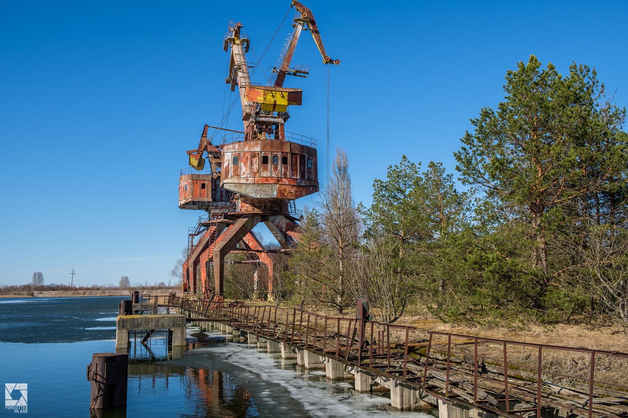 Pripyat Cargo Dock Cranes - Revisited in 2018