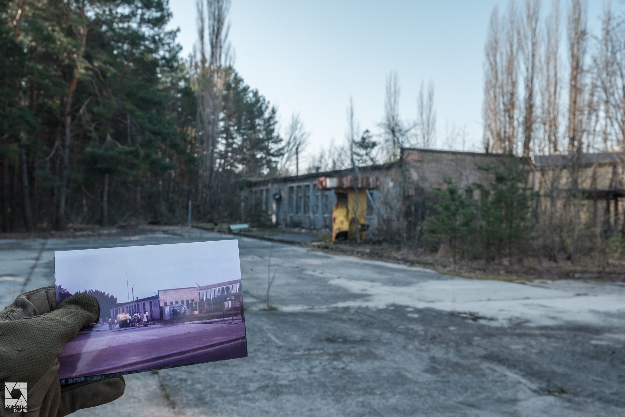 Pripyat Then and Now Bus Station