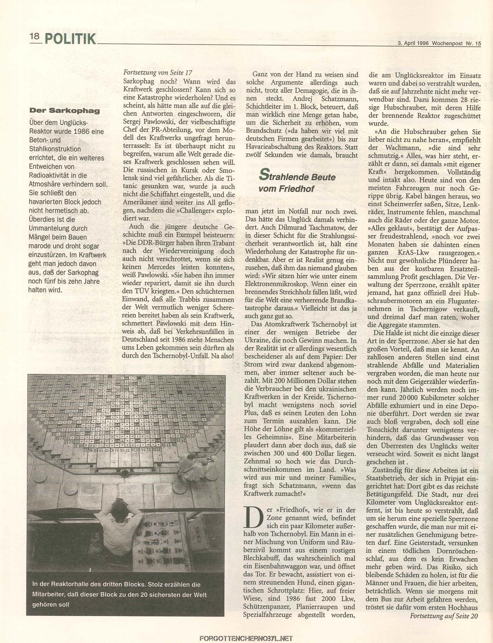 10 Jahre danach Tschernobyl - Wochenpost 3 April 1996