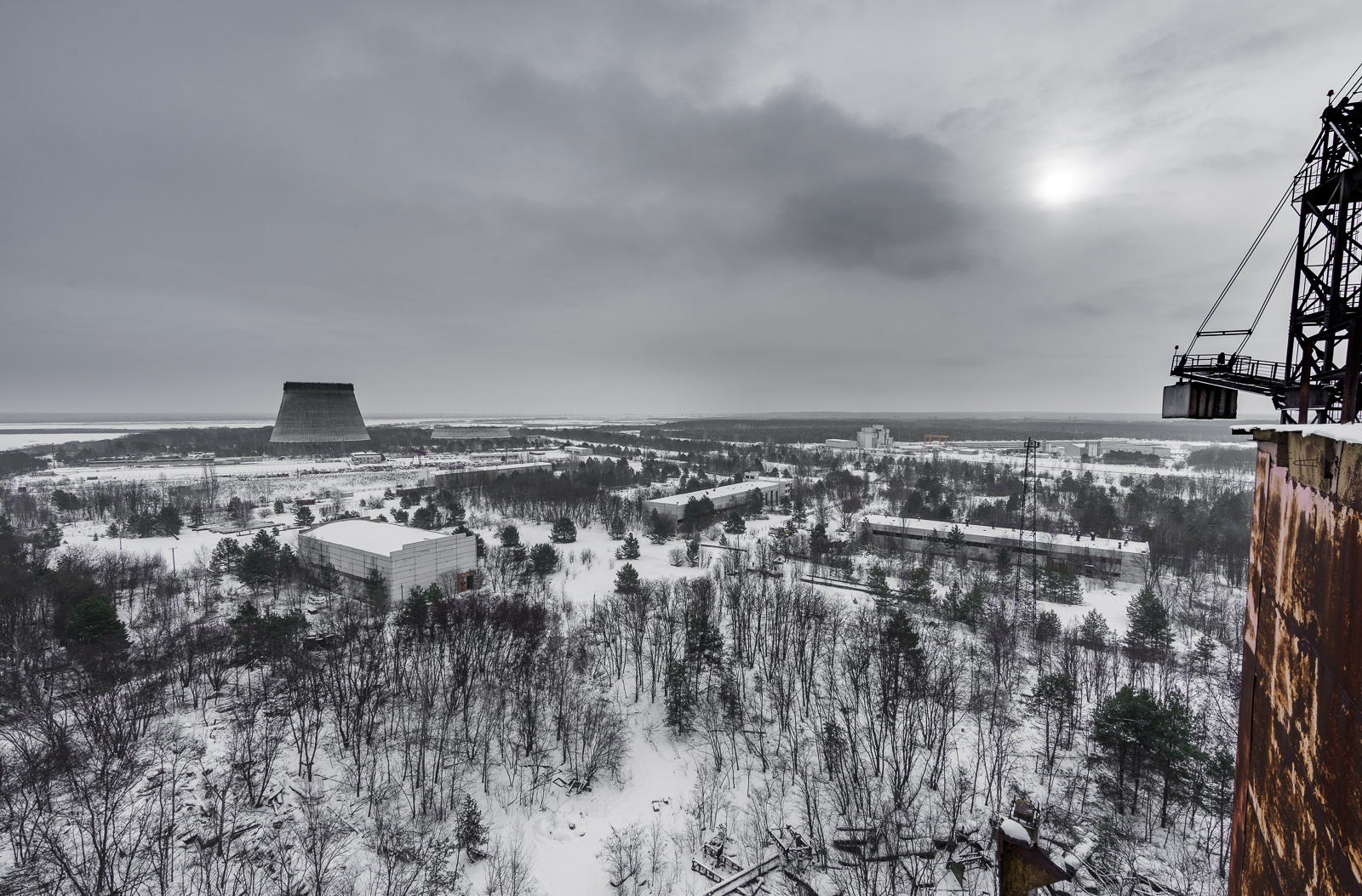 Unfinished Chernobyl Reactor 5 building in Winter