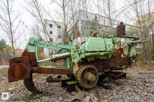 Komatsu D155W remote control bulldozer in Chernobyl
